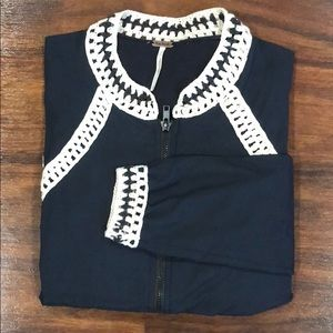 Free People Navy Bomber with Lace Trim